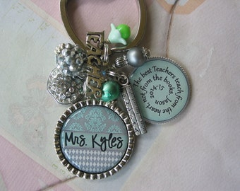 Personalized Teacher's Keychain, in grey and mint, end of year gifts