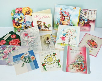 Lot of 13 Vintage Mixed Greeting Cards from the 1940s & 50s, Birthday, Wedding, Christmas and Get Well Ephemera for Collage, Scrap Booking