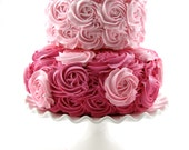 """Pink & Hot Pink Rosette Fake Cake Stackable 2 Tier Cake Bottom Tier Approx. 9""""w x 4.25""""h Top Tier Approx. 6.75"""" w x 4"""" h Fab Photo Prop"""