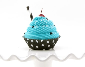 Turquoise Fake Cupcake with Black and White Polka Dot Cupcake Liner Fab Photo Prop, Birthday Decor, Gift Idea, Kitchen Decor