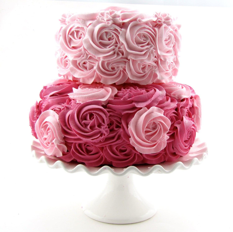 Hot Pink Rosette Cake