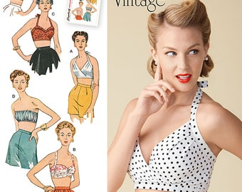 Vintage 1950's Bra / Halter Tops - Simplicity 1426 Sewing Pattern - Misses' sizes 4 - 12 or 14 - 22 uncut pattern
