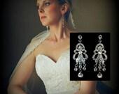 Chandelier Bridal Earrings, Art Deco Earrings, Gatsby 1920s Wedding, Swarovski Crystal Jewelry, CHRYSLER
