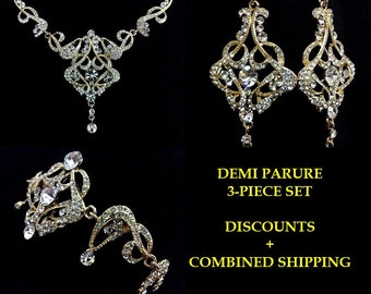 Art Deco Wedding Jewelry, Gold Bridal Jewelry, Statement Bridal Necklace, Chandelier Bridal Earrings, Crystal Bridal Bracelet, CARMEN GOLD A