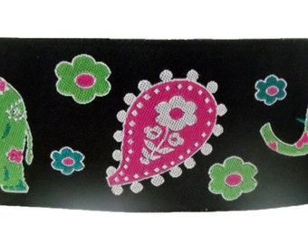 Pink, Black and Green Elephant Floral Greyhound, Whippet, Galgo, Dog Martingale Collar