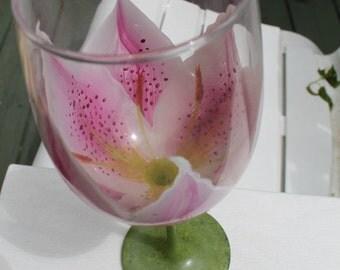 Hand Painted  Stargazers Wine Glass