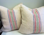 European Grain Sack Pillow / Red Blue Green Stripe / Set of 2. Farmhouse Granny Chic