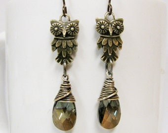 Antique Brass Owl and Wire Wrapped Bronze Swarovski Crystal Earrings