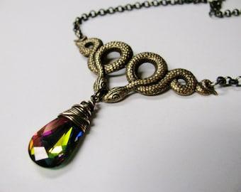 Antique Brass Serpents and Rainbow Emerald Swarovski Crystal Necklace