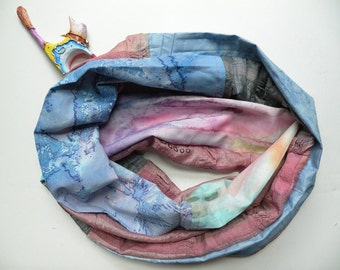 Infinity scarf, woven women's fashion, blue pink rose lavender yellow gray print, silk cotton multicolor Lhasa i416 Life's an Expedition