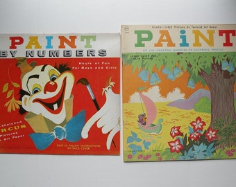 2 paint by number vintage coloring books for children, art paper for use with paint crayons markers, retro 1960's circus artist gift Lowe