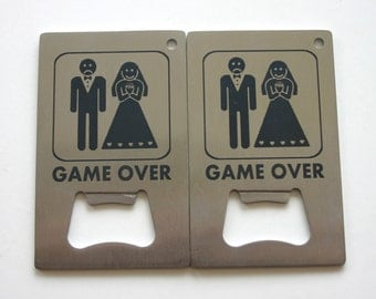 Game Over Wedding Bottle Opener Laser Engraved Stainless Steel Bottle Opener Wedding Gift Set of 2