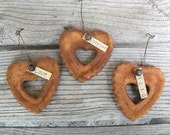 Rustic Country Heart Ornament, Country Wedding Favor, Valentines Decoration, Personalized, Bulk Order