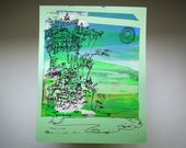 CLIFFHANGER | retro beach city scene | cartoon style | cool colors on mint green | silkscreen by Kathryn DiLego