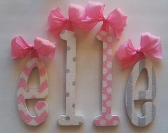 Wall Letters GLITTERED wood letters baby and kids nursery decor room accessorie children wooden name GLITTERED name