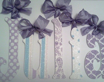 Paisley and Polka Dot, Lavender and Aqua GLITTER Nursery Wood Wall Letters