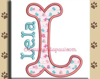 Applique Rainy Day Embroidery Font Includes 5 Sizes and Numbers
