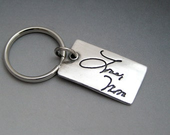 Custom Keychain - Your Loved One's Actual Hand Writing Made into a Fine Silver Key Chain