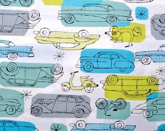 Organic Cotton Fabric, On the Go, Blue, fat-quarter