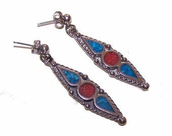 Vintage Drop Earrings, STERLING SILVER, Sterling Earrings, Silver Earrings, Inlaid Turquoise, Inlaid Coral, Drop Earrings, Native American