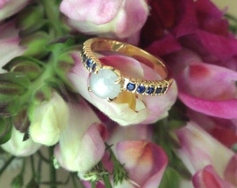 Natural White Star Sapphire Ring with Blue Sapphire Band, Handforged 18k Yellow Gold, OOAK, Ready to Ship
