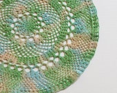 "Crochet Doily - Hand Dyed Upcycled Home Table Top Decor - Imperfect Powder Slate Blue Garden Green Tan Cream Ivory Beach Ocean Doilys 13.5"""