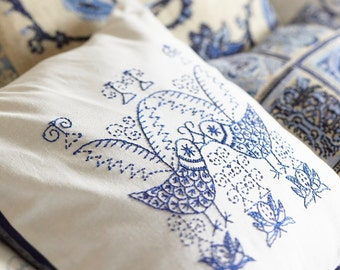 Embroidery pattern SCANDI BIRDS - black,scandinavian,embroidery,pillow,needlecraft,cushion,birds,swedish embroidery,Anette Eriksson Design