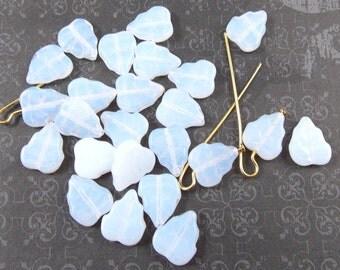 Milky White Glass Leaf Beads, 25