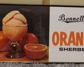 VINTAGE Bennett's Orange Sherbet Poster NOS Ottawa Kansas