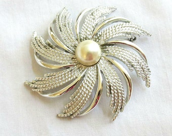 Vintage Sarah Coventry Faux Pearl Large swirl Brooch