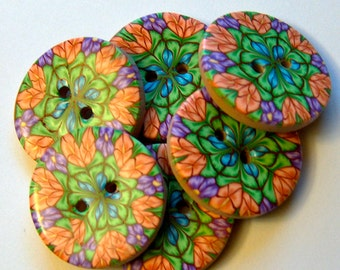 Handcrafted Millifilori Floral Button No. 212