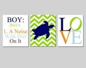 Baby Boy Nursery Art Trio - Boy Definition - Boy A Noise With Dirt, Chevron Turtle, Love - Set of Three 11x14 Prints - CHOOSE YOUR COLORS