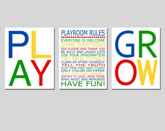 Playroom Rules Set - Play, Love, Grow - Kids Wall Art for Nursery - CHOOSE YOUR COLORS- Set of Three 8x10 Typography Prints