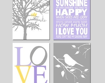 Lavender Purple Yellow Gray Nursery Art Quad - You Are My Sunshine, LOVE, Birds in a Tree, Bird on a Branch - Set of Four 8x10 Prints