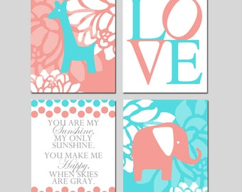 Coral Aqua Baby Girl Nursery Art - You Are My Sunshine, Floral Elephant Giraffe, Love - Set of Four 8x10 Prints - CHOOSE YOUR COLORS