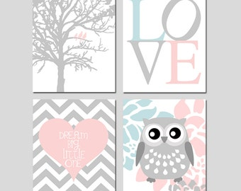 Baby Girl Nursery Art - Love, Birds in a Tree, Floral Owl, Dream Big Little One Chevron Heart - Set of Four 8x10 Prints - CHOOSE YOUR COLORS