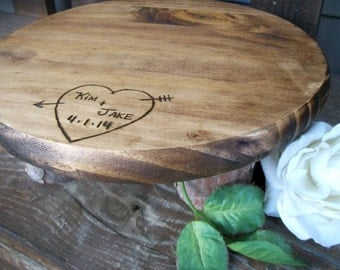 Personalized Wooden Round Pine Wood Cake Stand  for Weddings, Cakes, Cupcakes, Parties
