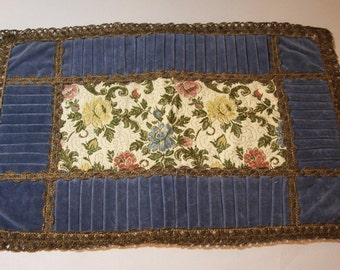 Vintage BLUE VELOUR Place Mat Table Runner with Metal Lace