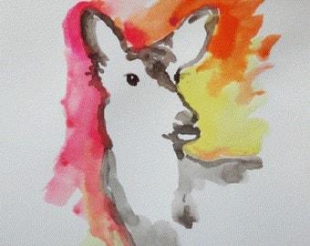 DEER painting, Modern deer painting, Original deer painting, watercolor wildlife, OOAK Watercolor painting