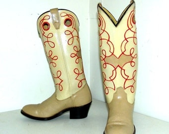 Vintage Acme altered cowboy boots size 5 B -- handpainted