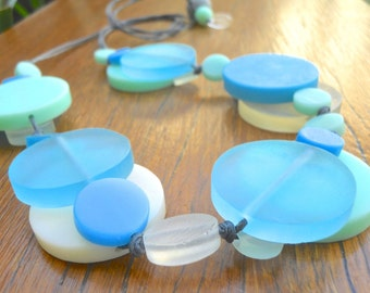 Resin bead double layer necklace in Aqua, Mint and Cream