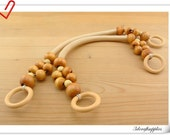 Pair of  48cm light tan wood handle with wood bead Y37