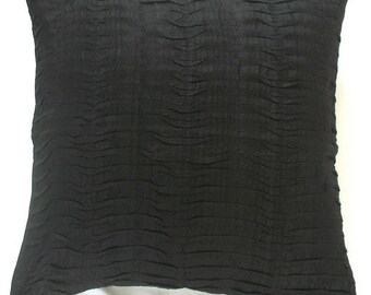 STOCK CLEARANCE 20% OFF- black silk throw pillow pleated 16 inch decorative cushion cover -3 in stock