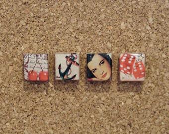 retro old school tattoo scrabble tile magnet or thumb tack set - cubicle decor - locker magnets - vintage anchor, dice, cherry print tacks