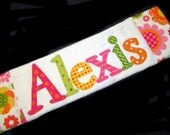 Personalized Baby Burp Cloth - Appliqued - Fun Flowers