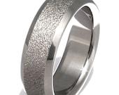 Unique Wedding Band - Frost Titanium Ring - f6