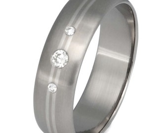 Titanium Diamond Engagement Ring with Platinum Inlays - Wedding Band - s22