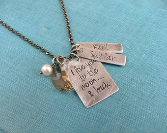 I love you to the Moon & Back Custom Hand Stamped Necklace with Individual Name Tags, Swarovksi Crystal Moon and Freshwater Pearl by MyBella
