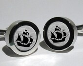 Pirate Ship Mens Cufflinks/Pirate Sailor Nautical Sailboat Cufflinks/Handmade Navy Sailship Cufflinks
