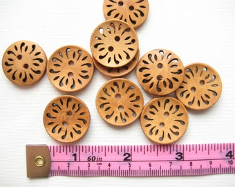 10 pcs of 23mm brown Coffee Hollow Flower floral pattern 2 Holes Round Wood Sewing knitting crochet Buttons for craft diy creative projects